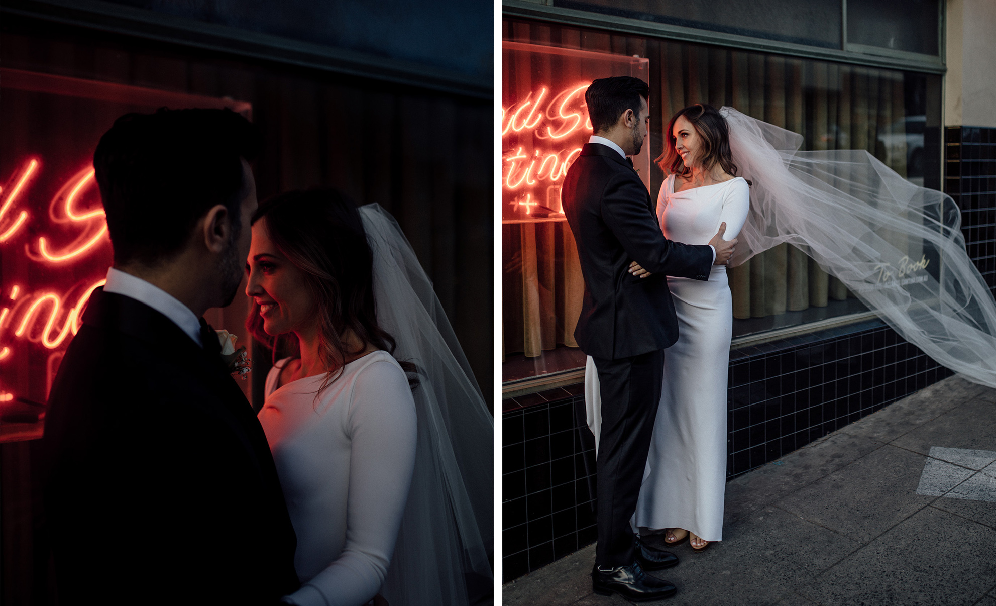 neon light wedding portrait